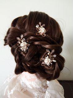 Crystal Hair Pin Gold Hair Pins Wedding Hair by DesignByIrenne