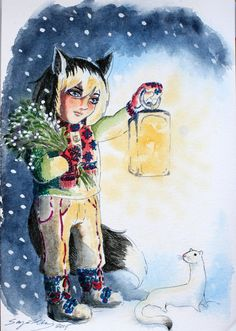 Winter Fox Child by cows-love-clover on DeviantArt. Watercolor,ink and Promarker. A foc child meets a an ermine in the snow, while gathering mistletoe.