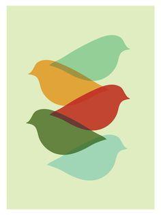 Mid Century Modern Bird Art Print  //  Free por FatEyeDesign, $23.00