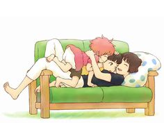 Ponyo, Sosuke y Lisa, en familia ^^ #FanArtGhibli 'Ponyo en el acantilado'