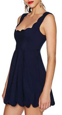 Navy Spaghetti Strap Ruffle Pleated Dress This would make a great design for a swimsuit.