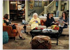 Betty White knitting on set