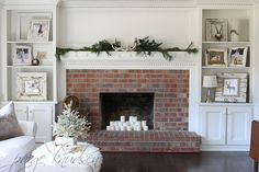 From paigeknudsen.com (love the brick and the built-ins on either side, and all of the white)
