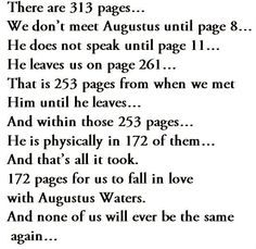 "The Fault in Our Stars ❤️ ""The only person I wanted to talk about Augustus Waters death was Augustus Waters himself."""