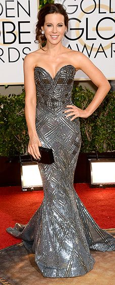 Kate Beckinsale in a metallic mermaid gown by Zuhair Murad at the 2014 Golden Globes