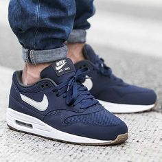 NIKE Women's Shoes - Nike Air Max 1 Essential Midnight Navy Light Bone post image - Find deals and best selling products for Nike Shoes for Women Nike Shoes Cheap, Nike Free Shoes, Nike Shoes Outlet, Running Shoes Nike, Cheap Nike, Air Max Sneakers, Best Sneakers, Nike Sneakers, Air Jordan Retro