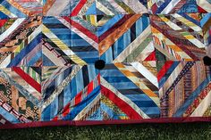 Antique quilt made from neckties.