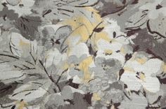 GREY YELLOW SILKY DRAPERY OR UPHOLSTERY FABRIC 1.875 YDS