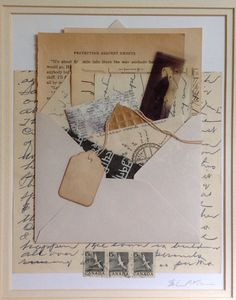 """Protection against Ghosts."" Collaged scrap, ephemera, and vintage papers. From Salon de Refuse Studio, artist Rita McNamara. 11X14, matted."