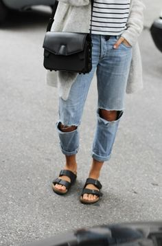 Image via We Heart It https://weheartit.com/entry/135976462/via/15840488 #bag #birkenstock #boyfriendjeans #cardigan #fashion #jeans #outfit #ripped #stripes #style #stylish