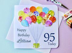 95th Birthday Card Personalised Age 95 Birthday Balloons