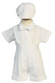 9ee07d2b9 A 4 Piece White Poly Cotton Pique Baby or Toddler Boys Christening Outfit  with Suspender Shorts, Clip on Bow Tie, Short Sleeve Dress Shirt and  Matching ...