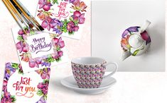 Mix of Flowers PNG Watercolor Set Illustration #Illustration #PNG #Flowers #Mix
