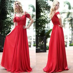 Beautiful Red Off the Shoulder Spaghetti Ball Gown Prom Evening Dresses SKU-122147