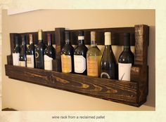 Reclaimed pallets. Could be used in a small kitchen for oils and other cooking bottles stored next to stove.  I wish there was a link on a how-to for this.