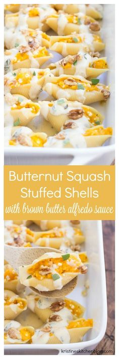 Butternut Squash Stuffed Shells with Brown Butter Alfredo Sauce - plenty of cheese, creamy squash, and BROWN BUTTER! Yum! Vegetarian. Pasta.
