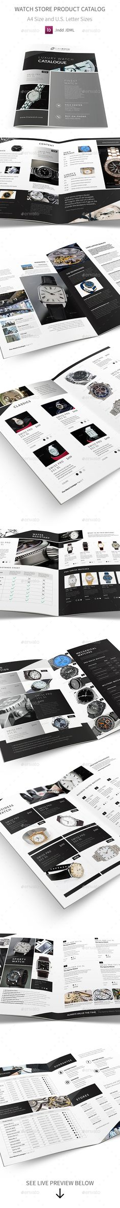 Watch Store Product Catalog — InDesign INDD #professional #catalogue • Download ➝ https://graphicriver.net/item/watch-store-product-catalog/19770409?ref=pxcr