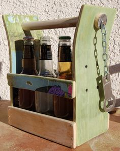 Beer or Soda Bottle Six Pack Holder With Bottle Opener by WoodCore