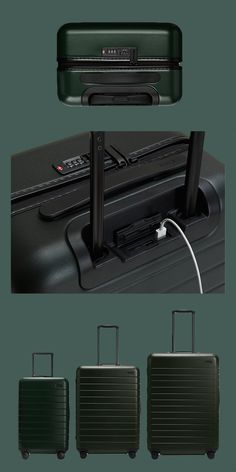 AWAY Luggage Set with a built-in battery that can charge any USB device