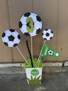 Soccer Birthday Party Theme Centerpiece by FantastikCreations Soccer Birthday Parties, Football Birthday, Sports Birthday, Soccer Party, Sports Party, Birthday Party Decorations, Birthday Games, 9th Birthday, Craft Party
