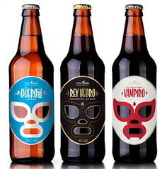 Cerveceria Sagrada Packaging for Mexican Craft Beer. Each beer is names after fictional Mexican heroes: Rey Negro (Imperial Stout), Guero Gomez (Lager) and El Hijo del Vampiro (Red Ale). Bottle Packaging, Brand Packaging, Packaging Design, Bottle Labels, Product Packaging, Design Blog, Web Design, Graphic Design, Logo Design