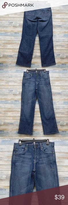 """7FAMK  29 x 30 A Pocket Relaxed Button Fly 7 For All Mankind Jeans Men's  29 x 30 A Pocket Relaxed Button Fly    (H-34)  color: medium blue fade  size  29 x 30 """" inseam   actual waist measures 32""""  RISE 10.5"""" LEG OPENING LAYING FLAT 9.5""""   88% cotton  10% Polyester 2% elastain  IN GOOD CONDITION 7 For All Mankind Jeans Relaxed"""