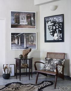 A Worldy Apartment In India - ELLE DECOR An English table and a rosewood chair with a pillow embroidered with a pattern inspired by Jackson Pollock in a guest room; the photographs are by Sebastian Cortés, and the drawing is by Agathe de Bailliencourt. Design Entrée, House Design, Interior Design, Stylish Interior, François Lesage, 1960s Furniture, Indian Interiors, Quirky Home Decor, Elegant Homes