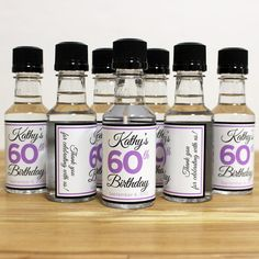 Custom Mini Bottle Labels Birthday Favors Adult By LiquidCourage 2500 50th Party