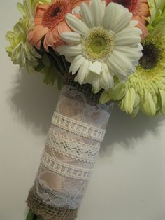 Burlap and Lace Bouquet Wrap with Layered Lace, I love this!