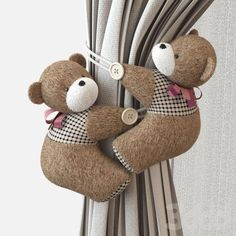 Pickups for curtains of soft toys Sewing Projects, Projects To Try, Curtain Holder, Curtain Tie Backs, Curtain Designs, Baby Room Decor, Drapes Curtains, Girl Room, Child's Room
