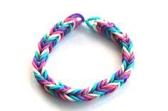 Purple, Teal, White and Pink Rubber Band Bracelet; Rainbow Loom Bracelet