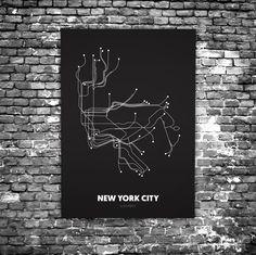 New York City C1 - Acrylic Glass Art Subway Maps (Acrylglas, Underground)