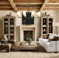 LOVE the coffee table, chairs, couch and lights Aspen French Oak Metal Rail Square Coffee Table Living Room Inspiration, Home, Oak Furniture, Interior, New Homes, House, Restoration Hardware Living Room, French Oak, House Interior