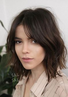 Mid length haircut with fringe