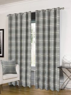 THICK DELUXE THERMAL GREY TARTAN CHECK MODERN RING TOP EYELET HUGO CURTAINS