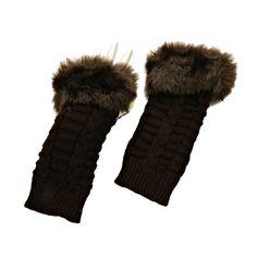 Dark Brown Fur Trim Cable Knit Winter Fingerless Gloves Arm Warmers