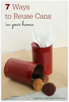 Check out these easy ideas to recycle and reuse cans throughout your home. I just love these idea!  http://www.couponcloset.net/ways-to-reuse-cans/?utm_campaign=coschedule&utm_source=pinterest&utm_medium=Carrie%20from%20CouponCloset.net%20(Coupon%20Closet)&utm_content=7%20Ways%20to%20Reuse%20Cans%20in%20your%20Home #recycle #reuse