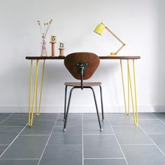 A very unique desk/table exclusively designed and produced here at Mustard vintage the desk/table is constructed with a reclaimed solid Iroko laboratory top combined with striking yellow powder coated steel hairpin legs. Mid Century Desk, Mid Century Furniture, Hairpin Dining Table, Vintage Bookshelf, Unique Desks, Desk Areas, Hairpin Legs, Office Interior Design, Table Desk