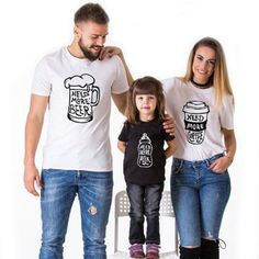 NEED MORE Beer coffee milk mother daughter clothes for father son matching outfits mommy and me family t shirt look mum baby mom Father Son Matching Outfits, Couples Matching Outfits, Baby Outfits, Summer Family Pictures, Family Photos, Family Picture Outfits, Matching Shirts, Matching Clothes, Mommy And Me