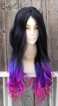 ON SALE Black Purple Pink Ombre Remy Human Hair 250 - 300g Long Straight Wavy Layered Wigs CH-10206