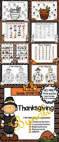 Are you looking for NO PREP literacy and math games for preschool, kindergarten, or first grade? Then download this bundle and go!  Enjoy this phonics and math resource which is comprised of FIVE different THANKSGIVING themed games complete with a color version and black and white version of each game.  The games can be used for small group work, partner collaboration, or homework! Classroom Games, Math Games, Classroom Ideas, Teaching Letters, Teaching Kids, Opening A Daycare, Sound Words, Technology Lessons, Rhyming Words
