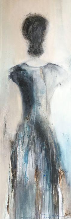 Acryl, mixed media op doek 40 x 120 cm