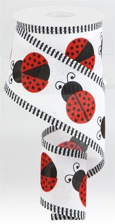 """Excited to share this item from my #etsy shop: Ladybug Wired Ribbon, 2.5"""" Large Red Ladybug wired ribbon with thin stripe edging, white red black ladybug ribbon, summer ribbon, RG0882227 #white #black #waysidewhimsy #wreathsbyrobin Wired Ribbon, Blue Ribbon, Army Ribbons, Black Ladybug, Wreath Supplies, Black White Red, How To Make Wreaths, Craft Items"""