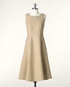 @Lauren Ashley, bridesmaid dresses, add sleeves.  I am pretty sure this is a linen dress, you could make it out of a different color. What do you think?
