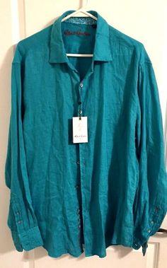 ***SOLD***Robert Graham Mens Button Down Linen Shirt NWT Size Large #RobertGraham #ButtonFront