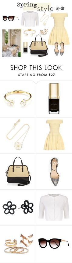 """""""spring style"""" by supabebek ❤ liked on Polyvore featuring Kate Spade, Dolce&Gabbana, Alison Lou, Alexander McQueen, Marc by Marc Jacobs, MaxMara, Thierry Lasry, brunch, flat and yellowdress"""