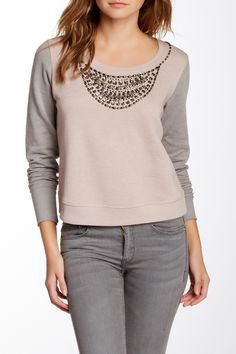 Embellished Sweatshirt (Juniors) by Abound on @nordstrom_rack