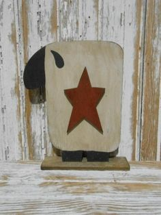primitive decor~ WOODEN SHEEP W/STAR ON BASE~ country americana ~ farmhouse