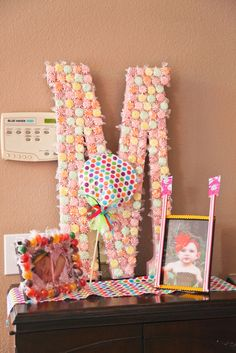 "candy decor /// love the idea of maybe doing an ""N"" a heart and an ""S"" with candy letters like this for decoration Birthday Fun, First Birthday Parties, First Birthdays, Birthday Ideas, Birthday Stuff, Princess Birthday, Candyland, Candy Letters, Candy Land Theme"