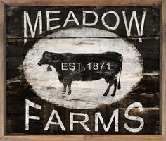 Wooden cow sign Vintage style cow sign farm by DesignHouseDecor